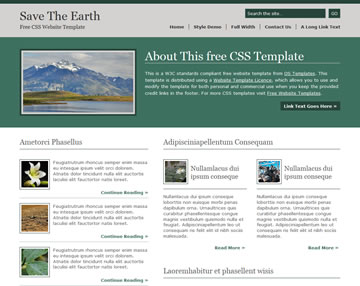 Save The Earth Free Website Template